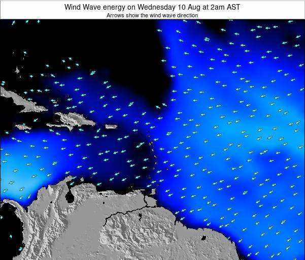 Saint Lucia Wind Wave energy on Wednesday 26 Sep at 8pm AST map