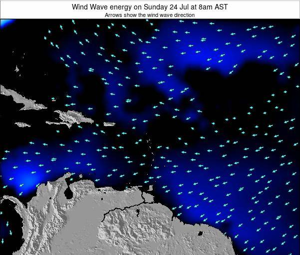 Saint Lucia Wind Wave energy on Tuesday 16 Oct at 2am AST map