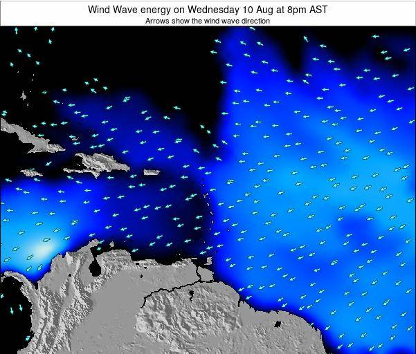 Saint Lucia Wind Wave energy on Friday 26 Jan at 8am AST map