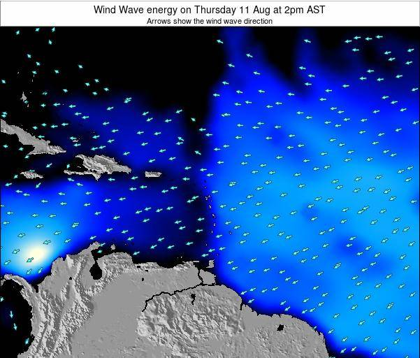 Saint Lucia Wind Wave energy on Saturday 24 Mar at 2am AST map