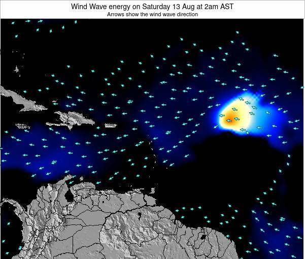 Saint Lucia Wind Wave energy on Monday 20 Aug at 8am AST map