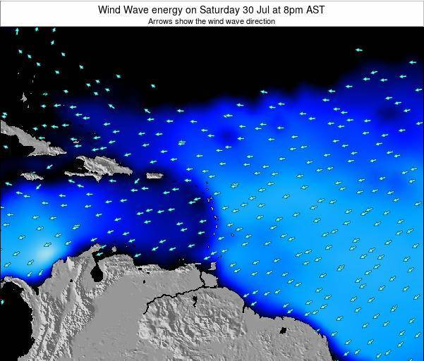 Saint Lucia Wind Wave energy on Monday 20 Aug at 2pm AST map