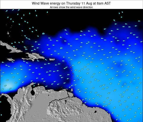 Saint Lucia Wind Wave energy on Monday 22 Oct at 2pm AST map