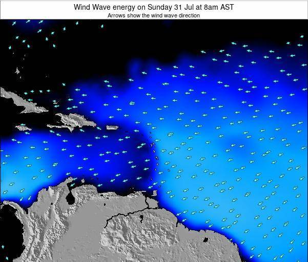 Saint Lucia Wind Wave energy on Tuesday 13 Oct at 2pm AST