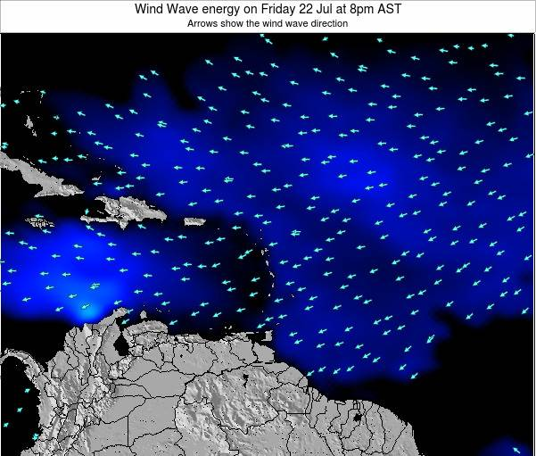 Saint Lucia Wind Wave energy on Tuesday 21 Aug at 8pm AST map