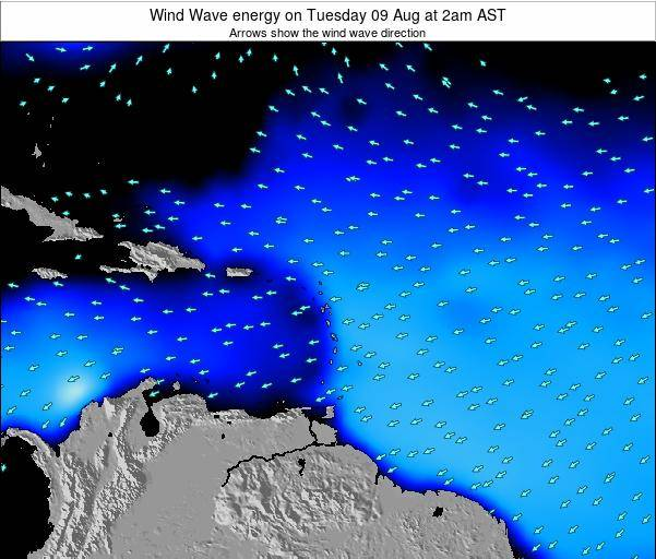 Saint Lucia Wind Wave energy on Tuesday 02 Oct at 8am AST map