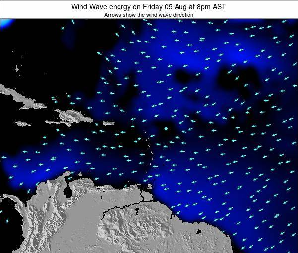 Saint Lucia Wind Wave energy on Sunday 18 Nov at 2am AST map