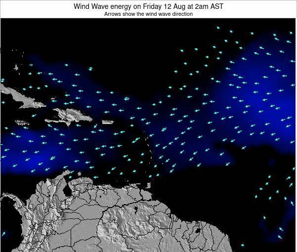 Saint Lucia Wind Wave energy on Wednesday 26 Sep at 2am AST map