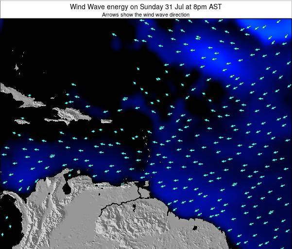 Saint Lucia Wind Wave energy on Thursday 24 Jan at 2pm AST map