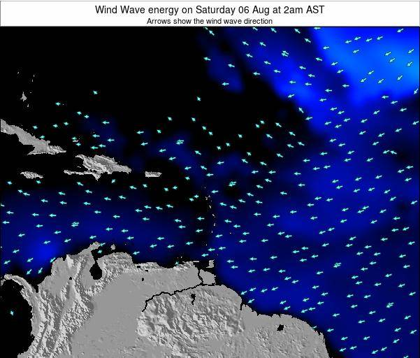 Saint Lucia Wind Wave energy on Tuesday 19 Jun at 2pm AST map