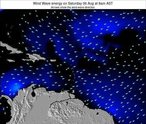 Guadeloupe Wind Wave energy on Wednesday 12 Dec at 2am AST map