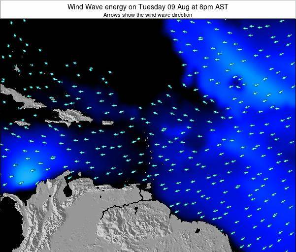 Saint Lucia Wind Wave energy on Monday 03 Aug at 8am AST
