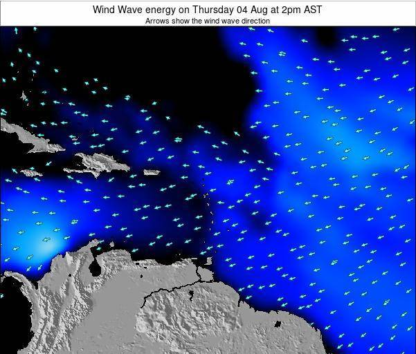 Saint Lucia Wind Wave energy on Sunday 03 Aug at 2pm AST
