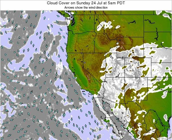 California Cloud Cover on Wednesday 20 Aug at 11pm PDT
