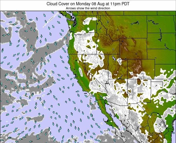 California Cloud Cover on Thursday 02 Mar at 4am PST