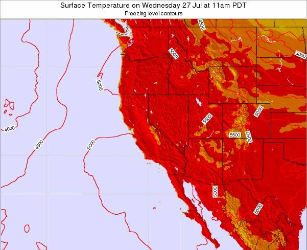 California Surface Temperature on Friday 10 Jul at 11pm PDT