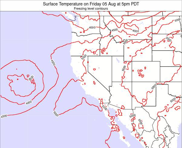 California Surface Temperature on Thursday 03 Dec at 10am PST