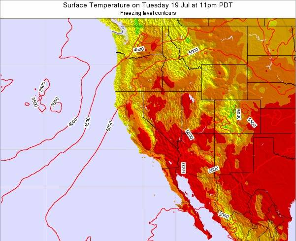 California Surface Temperature on Monday 28 Apr at 5am PDT