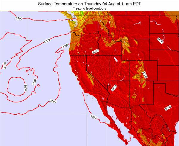 California Surface Temperature on Thursday 24 Apr at 11am PDT