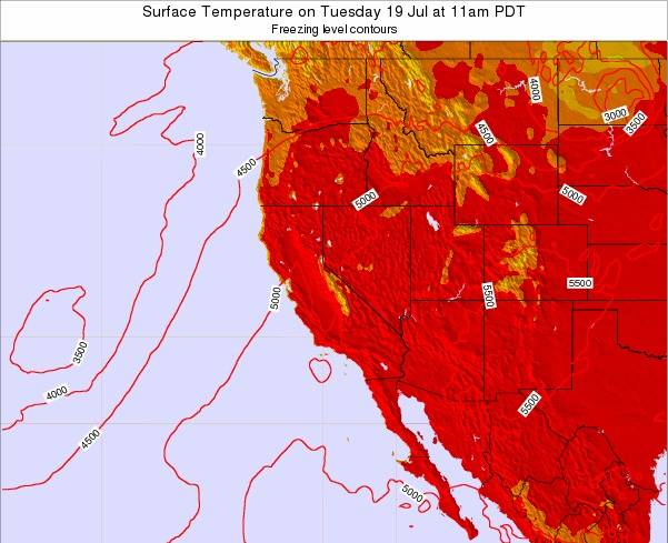 California Surface Temperature on Monday 20 May at 11pm PDT