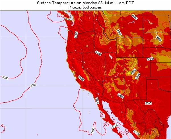 California Surface Temperature on Sunday 27 May at 5am PDT map