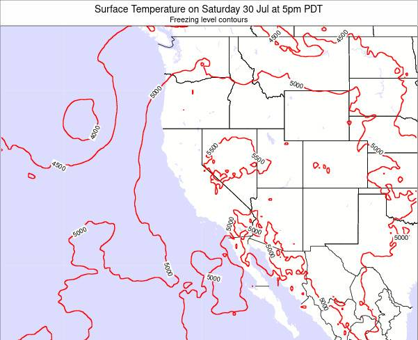 California Surface Temperature on Saturday 19 Apr at 5pm PDT