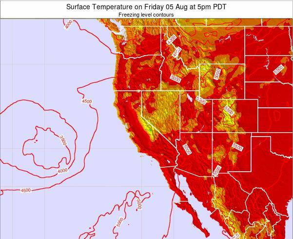 California Surface Temperature on Monday 20 Oct at 5pm PDT