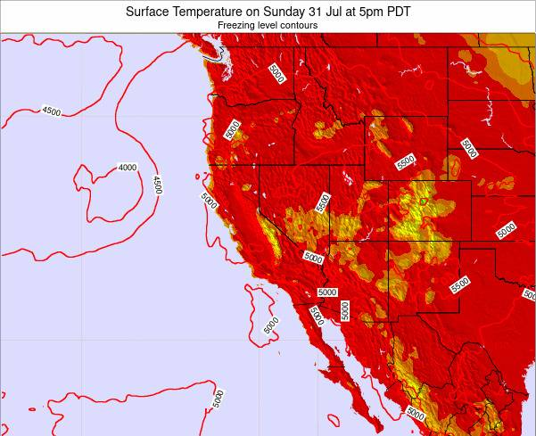 California Surface Temperature on Wednesday 25 Nov at 10pm PST