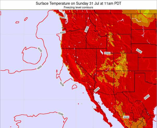 California Surface Temperature on Wednesday 02 Sep at 5am PDT