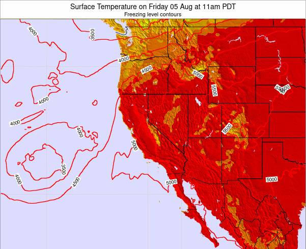 California Surface Temperature on Tuesday 29 Jul at 11pm PDT