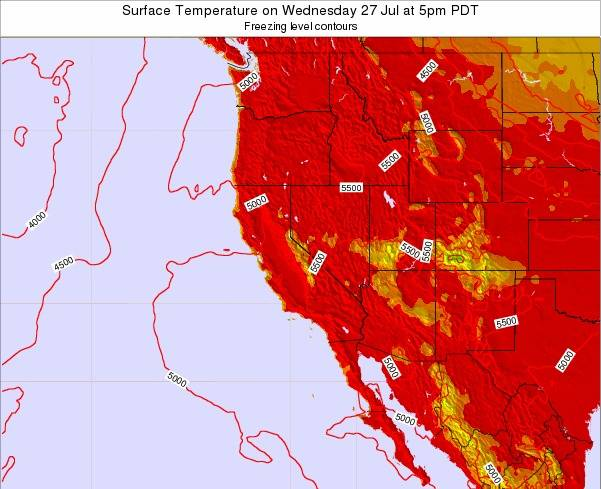 California Surface Temperature on Sunday 27 Apr at 5pm PDT