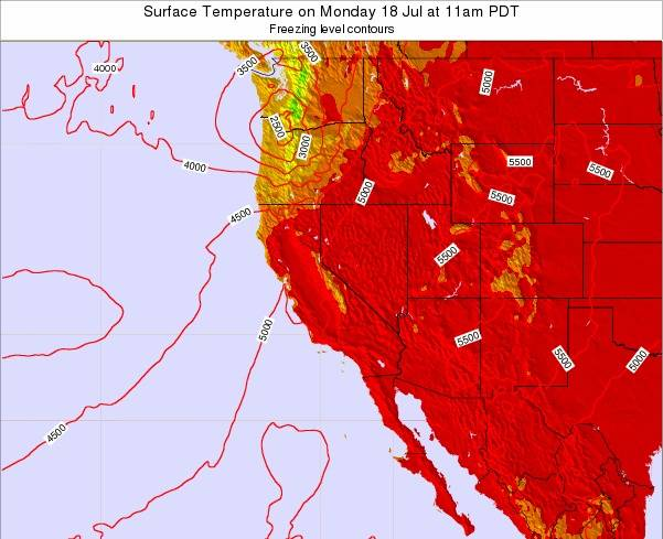 California Surface Temperature on Saturday 15 Mar at 11pm PDT