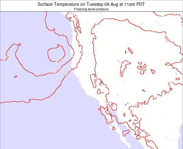California Surface Temperature on Sunday 03 Aug at 5am PDT
