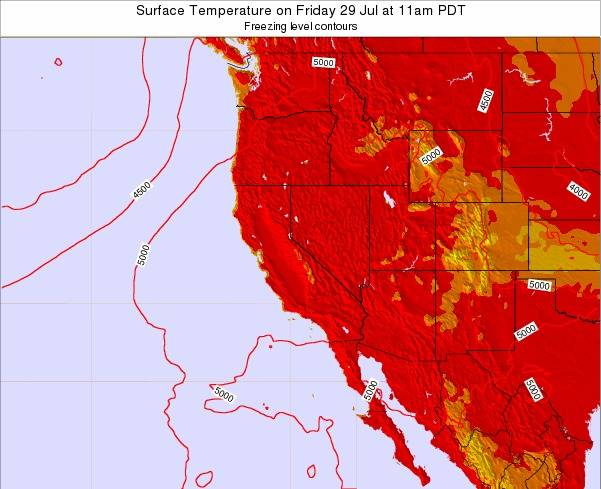 California Surface Temperature on Thursday 12 Dec at 4pm PST