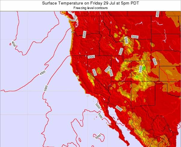 Utah Surface Temperature on Wednesday 23 Apr at 11pm PDT map