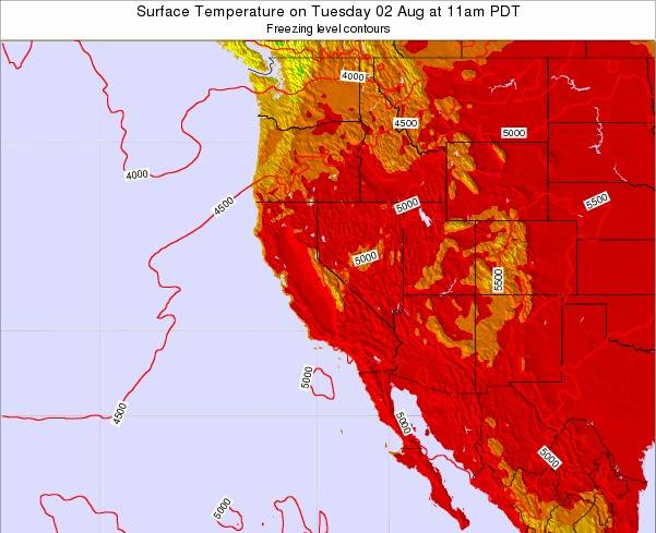 Utah Surface Temperature on Monday 24 Jun at 5am PDT map
