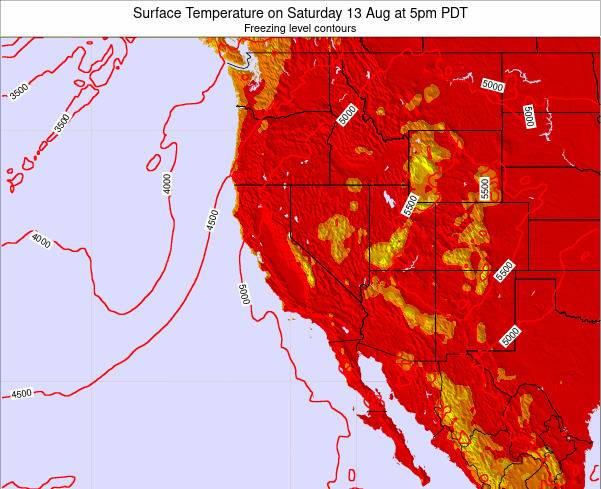 Utah Surface Temperature on Monday 28 Jul at 11am PDT map