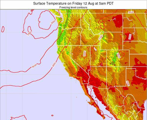 Utah Surface Temperature on Saturday 15 Mar at 5pm PDT map