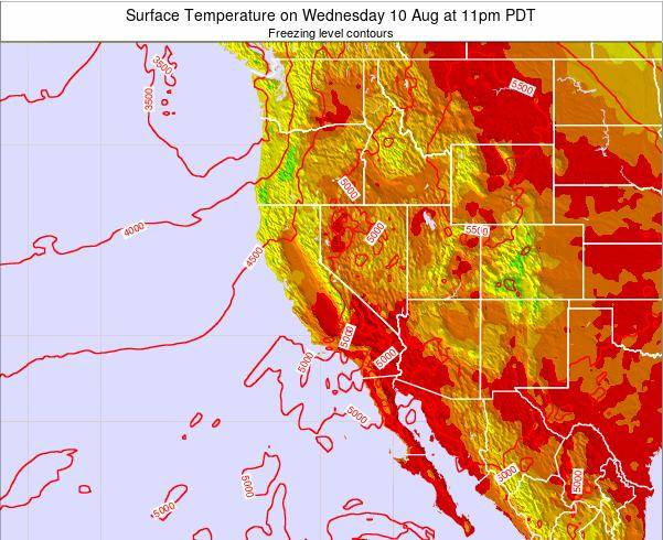 Utah Surface Temperature on Tuesday 10 Dec at 10am PST map