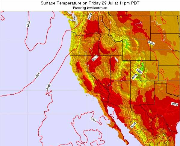 California Surface Temperature on Monday 04 Aug at 11am PDT