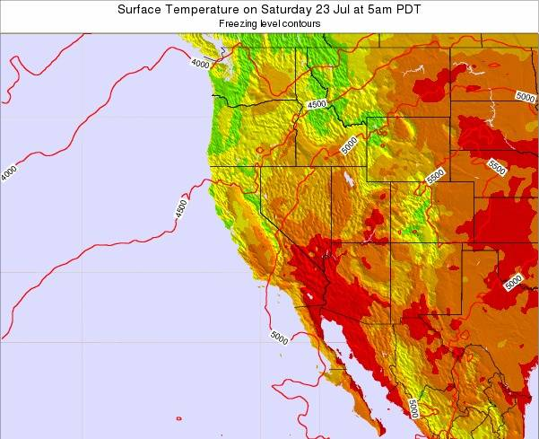 California Surface Temperature on Saturday 08 Aug at 5pm PDT