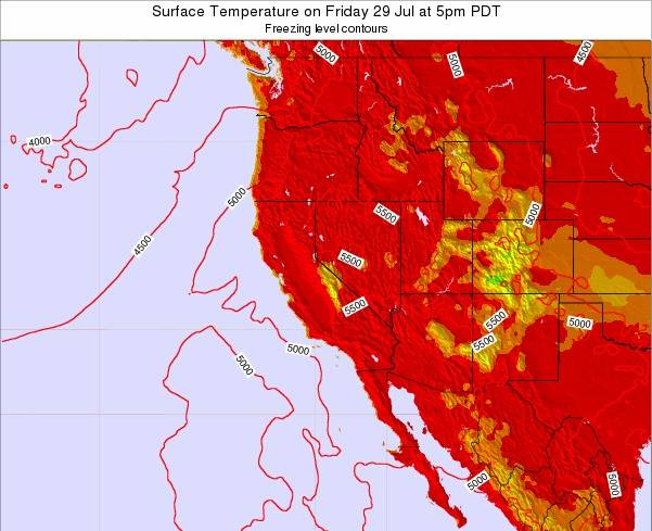 California Surface Temperature on Friday 31 May at 5pm PDT