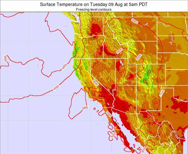 California Surface Temperature on Saturday 26 Apr at 11pm PDT