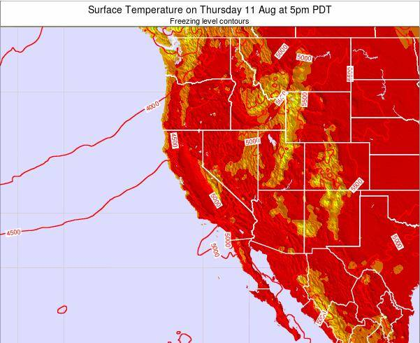 California Surface Temperature on Saturday 10 Dec at 4pm PST