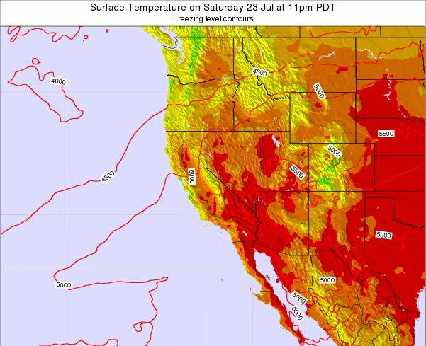 California Surface Temperature on Tuesday 29 Apr at 5am PDT