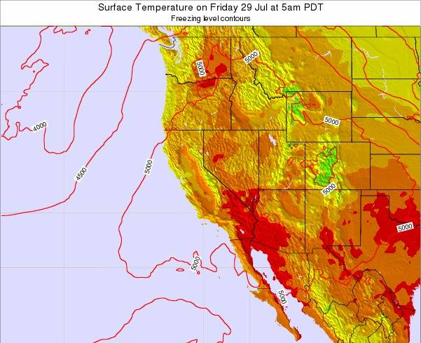 California Surface Temperature on Monday 06 Oct at 11am PDT