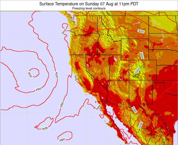 California Surface Temperature on Wednesday 30 Jul at 11am PDT
