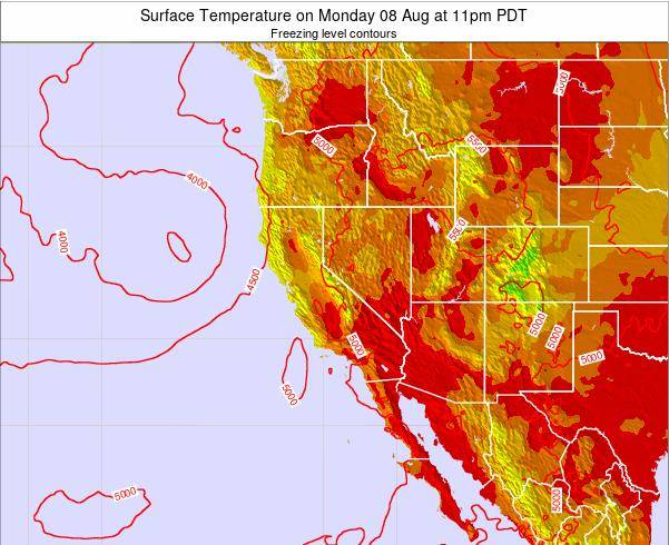 California Surface Temperature on Wednesday 26 Jun at 5am PDT