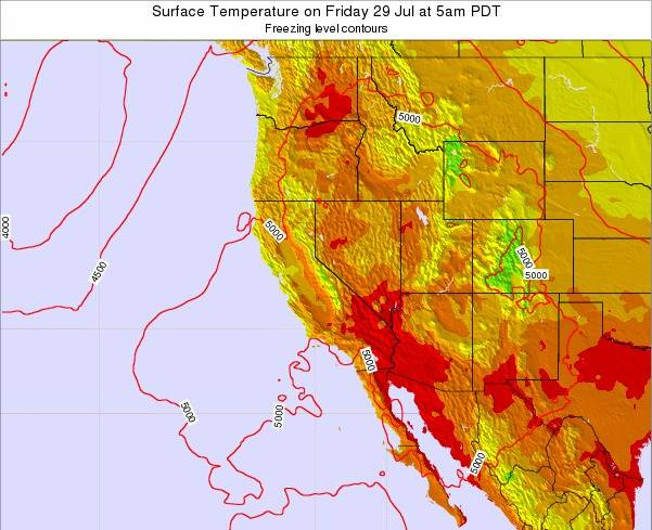 California Surface Temperature on Tuesday 28 Oct at 5am PDT
