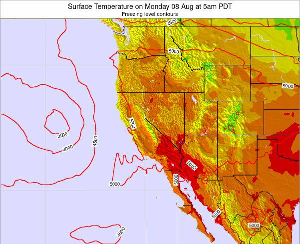 California Surface Temperature on Wednesday 17 Feb at 10pm PST
